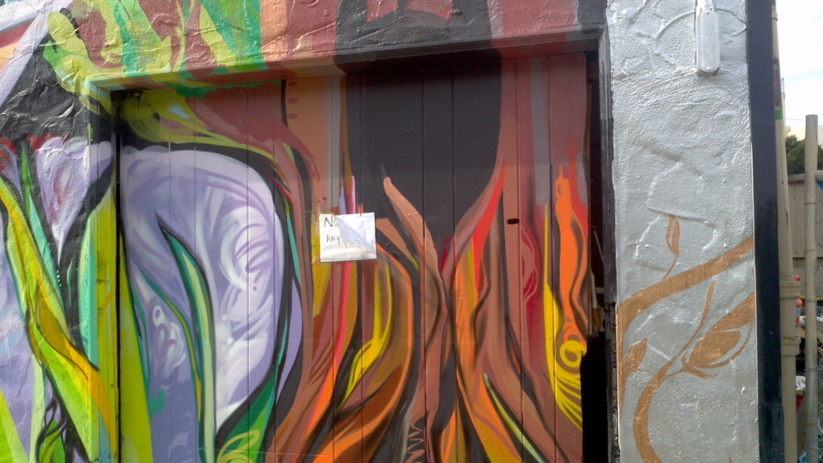 Mr. Rooter Mural - No Parking Sign, Tree