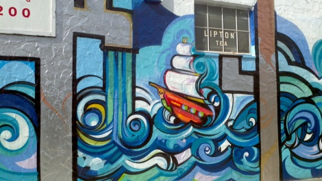 Mr. Rooter Mural - Pipes and Sailboat